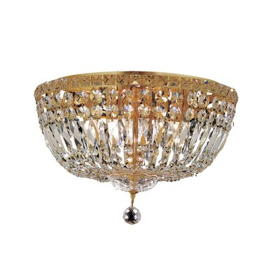 Tranquil 8-Light Flush Mount Finish: Gold, Crystal Grade: Chrome / Spectra Swarovski