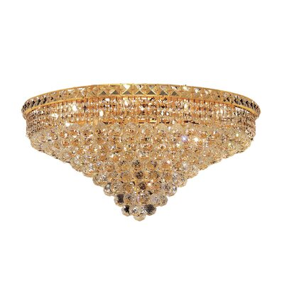 Fulham 18-Light 14 Semi Flush Mount Finish: Gold, Crystal Grade: Chrome / Elegant Cut