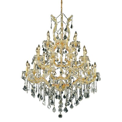 Maria Theresa 28-Light Crystal Chandelier Finish / Crystal Color / Crystal Trim: Chrome / Golden Teak (Smoky) / Royal Cut