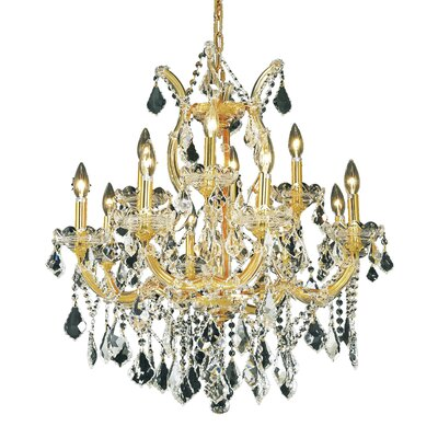 Regina Traditional 13-Light Crystal Chandelier Finish / Crystal Color / Crystal Trim: Gold / Golden Teak (Smoky) / Strass Swarovski