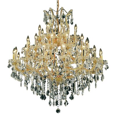 Regina Traditional 37-Light Royal Cut Crystal Chandelier Finish / Crystal Color / Crystal Trim: Chrome / Golden Teak (Smoky) / Strass Swarovski