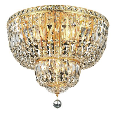 Fulham 10-Light Flush Mount Finish: Gold, Crystal Grade: Chrome / Royal Cut