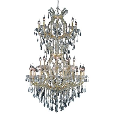 Regina 34-Light Royal Cut Crystal Chandelier Finish / Crystal Color / Crystal Trim: Chrome / Golden Teak (Smoky) / Royal Cut