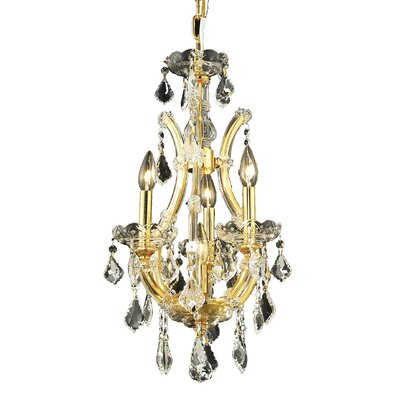 Regina 4-Light Candle-Style Chandelier Finish / Crystal Color / Crystal Trim: Gold / Golden Teak (Smoky) / Royal Cut