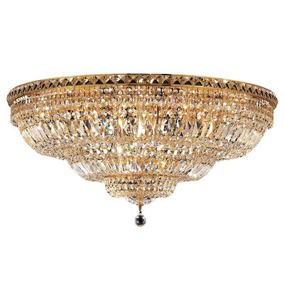 Fulham 21-Light Flush Mount Finish: Chrome, Crystal Grade: Chrome / Royal Cut