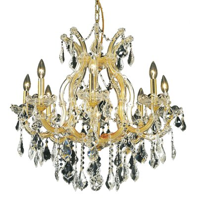 Regina Traditional 9-Light Crystal Chandelier Finish / Crystal Color / Crystal Trim: Gold / Crystal (Clear) / Strass Swarovski