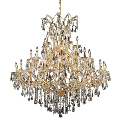 Regina 41-Light Crystal Chandelier Finish / Crystal Color / Crystal Trim: Chrome / Golden Teak (Smoky) / Strass Swarovski
