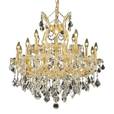 Regina Traditional 19-Light Crystal Chandelier Finish / Crystal Color / Crystal Trim: Gold / Crystal (Clear) / Elegant Cut