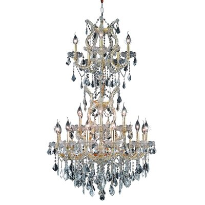 Regina Traditional 25-Light Crystal Chandelier Finish / Crystal Color / Crystal Trim: Gold / Golden Teak (Smoky) / Strass Swarovski