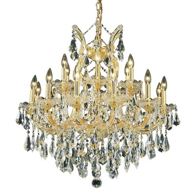 Regina 19-Light Chain Crystal Chandelier Finish / Crystal Color / Crystal Trim: Gold / Golden Teak (Smoky) / Royal Cut