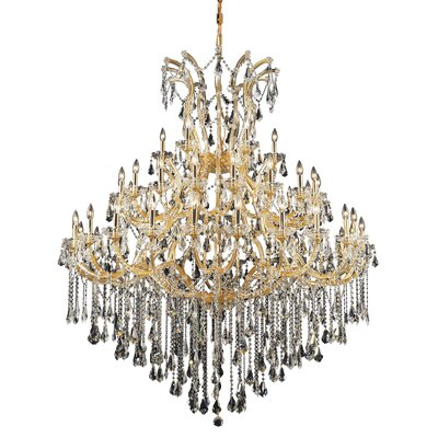 Regina 49-Light Royal Cut Chain Crystal Chandelier Finish / Crystal Color / Crystal Trim: Chrome / Golden Teak (Smoky) / Royal Cut