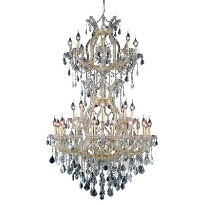 Regina Traditional 34-Light Crystal Chandelier Finish / Crystal Color / Crystal Trim: Gold / Crystal (Clear) / Elegant Cut