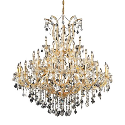 Regina Traditional 41-Light Crystal Chandelier Finish / Crystal Color / Crystal Trim: Gold / Golden Teak (Smoky) / Strass Swarovski