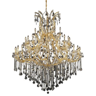 Regina Traditional 49-Light Up Lighting Crystal Chandelier Finish / Crystal Color / Crystal Trim: Chrome / Golden Teak (Smoky) / Royal Cut