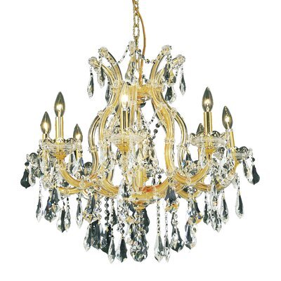 Regina 9-Light Royal Cut Crystal Chandelier Finish / Crystal Color / Crystal Trim: Chrome / Golden Teak (Smoky) / Royal Cut