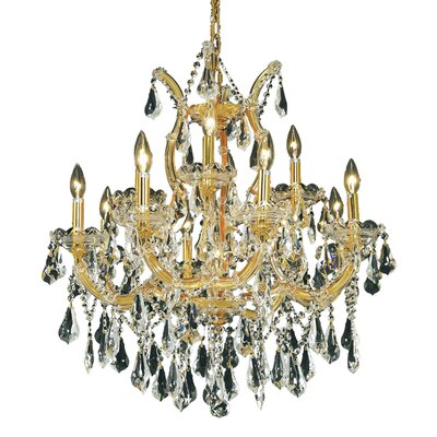 Maria Theresa 13-Light Crystal Chandelier Finish / Crystal Color / Crystal Trim: Chrome / Golden Teak (Smoky) / Royal Cut