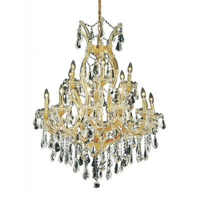 Regina 19-Light Crystal Chandelier Finish / Crystal Color / Crystal Trim: Gold / Golden Teak (Smoky) / Royal Cut