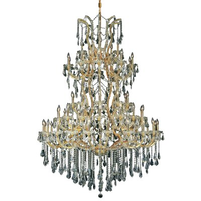 Regina 61-Light Crystal Chandelier Finish / Crystal Color / Crystal Trim: Chrome / Golden Teak (Smoky) / Strass Swarovski