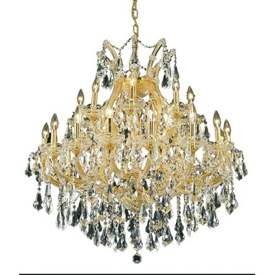 Regina Traditional 24-Light Royal Cut Chain Crystal Chandelier Finish / Crystal Color / Crystal Trim: Gold / Golden Teak (Smoky) / Royal Cut