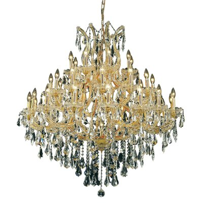 Regina 37-Light Crystal Chandelier Finish / Crystal Color / Crystal Trim: Gold / Golden Teak (Smoky) / Royal Cut