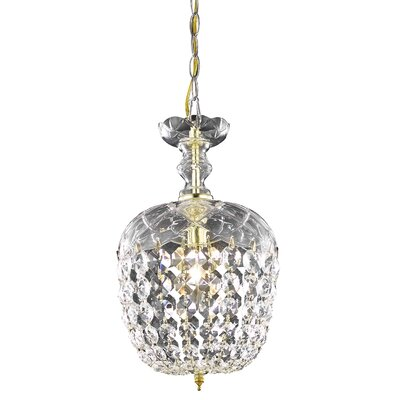 Chester-le-Street 1-Light Crystal Pendant Finish: Gold