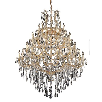 Regina 49-Light Chain Crystal Chandelier Finish / Crystal Color / Crystal Trim: Chrome / Golden Teak (Smoky) / Strass Swarovski