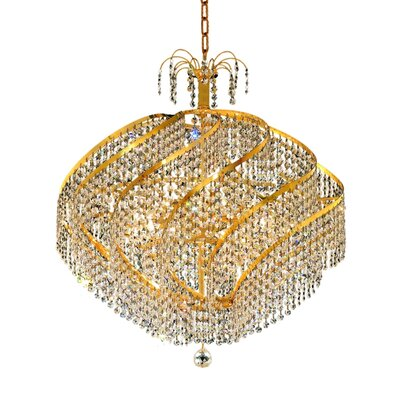 Mathilde 15-Light Crystal Chandelier Finish: Gold, Crystal Trim: Elegant Cut