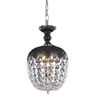 Chester-le-Street 1-Light Crystal Pendant Finish: Black