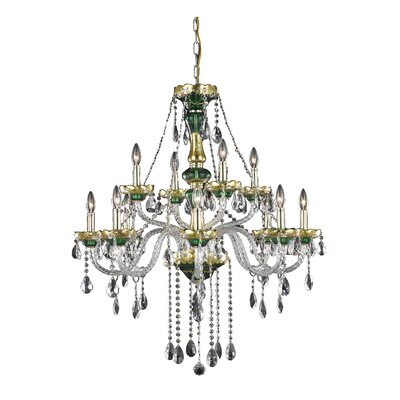 Schroeppel 12-Light Floral Crystal Chandelier Color: Green, Crystal Trim: Royal Cut