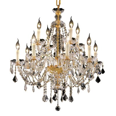 Schroeppel Traditional 12-Light Crystal Chandelier with Chain Finish: Gold, Crystal Trim: Royal Cut