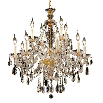 Alexandria 12-Light Crystal Chandelier Finish: Gold, Crystal Trim: Royal Cut