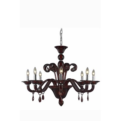 Brent 8-Light Candle-Style Chandelier Crystal Trim: Royal Cut, Finish: Red