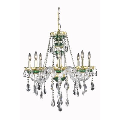 Schroeppel Traditional 8-Light Crystal Chandelier Color: Green, Crystal Trim: Strass Swarovski