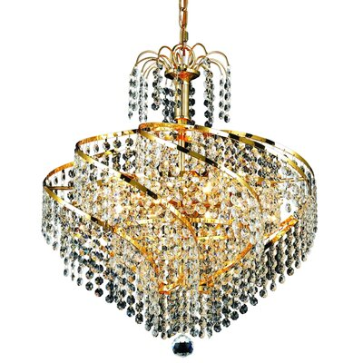 Landman 8-Light Crystal Chandelier Finish: Gold, Crystal Grade: Swarovski Strass