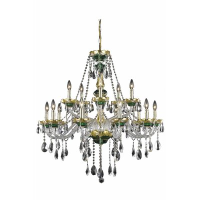 Schroeppel Traditional 15-Light Crystal Chandelier Finish: Green, Crystal Trim: Elegant Cut