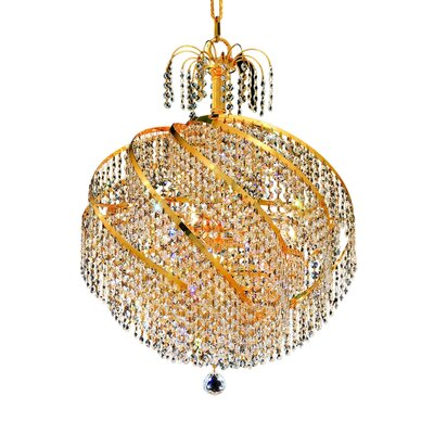 Mathilde 10-Light Chain Crystal Chandelier Finish: Gold, Crystal Trim: Elegant Cut