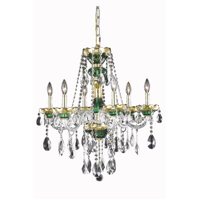 Alexandria 6-Light Crystal Chandelier Finish: Green, Crystal Trim: Elegant Cut