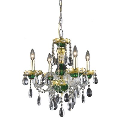 Schroeppel 4-Light Crystal Chandelier Finish: Green, Crystal Trim: Royal Cut