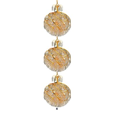 Mathilde 30-Light Chain Crystal Chandelier Finish: Gold, Crystal Trim: Elegant Cut