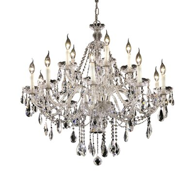 Schroeppel Traditional 15-Light Crystal Chandelier with Chain Color: Chrome, Crystal Trim: Elegant Cut