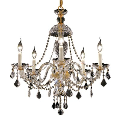 Alexandria 5-Light Crystal Chandelier Finish / Crystal Color / Crystal Trim: Chrome / Crystal (Clear) / Strass Swarovski