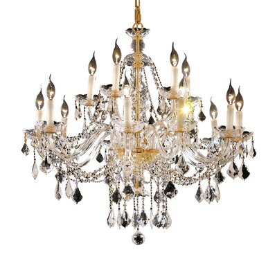 Schroeppel 12-Light Crystal Chandelier Finish: Gold, Crystal Trim: Elegant Cut