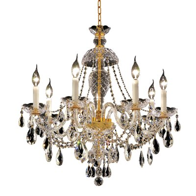 Schroeppel Traditional 7-Light Crystal Chandelier Color / Crystal Color / Crystal Trim: Gold / Crystal (Clear) / Strass Swarovski