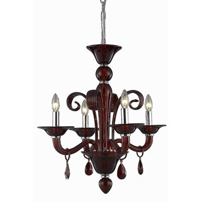 Brent 4-Light Candle-Style Chandelier Crystal Trim: Royal Cut, Finish: Red