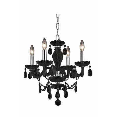 Rochelle 4-Light Crystal Chandelier Finish: Black