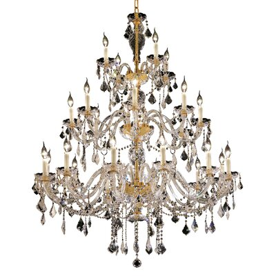 Schroeppel Traditional 24-Light Glass Crystal Chandelier Finish: Chrome, Crystal Trim: Elegant Cut