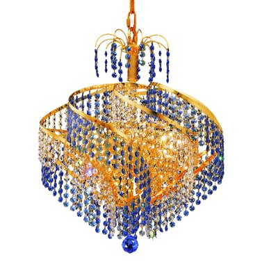 Spiral 13-Light Crystal Chandelier Finish: Gold, Crystal Trim: Royal Cut