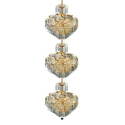Mathilde 24-Light Chain Crystal Chandelier Finish: Gold, Crystal Trim: Strass Swarovski
