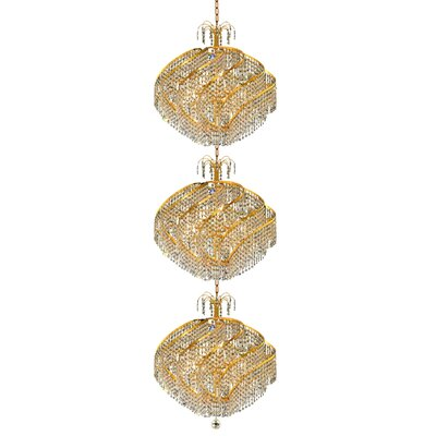 Mathilde 45-Light Chain Crystal Chandelier Finish: Gold, Crystal Trim: Elegant Cut