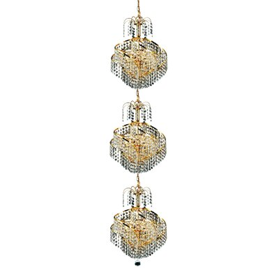 Mathilde 9-Light Chain Crystal Chandelier Finish: Gold, Crystal Trim: Strass Swarovski